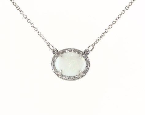 14K White Gold East-West Oval White Opal and Diamond Halo Necklace