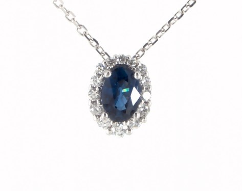 14K White Gold Blue Sapphire and Diamond Halo Necklace