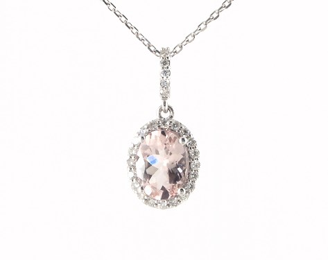 Fine jewelry gemstone pendants 14k white gold morganite and fine jewelry gemstone pendants 14k white gold morganite and diamond halo necklace item 61474 aloadofball Images