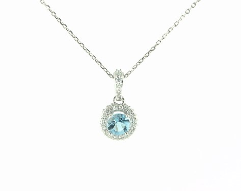 14K White Gold Aquamarine and Diamond Falling Edge Halo Necklace