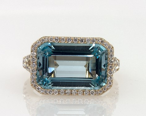 18K Yellow Gold East-West Emerald Shaped Blue Topaz and Pave Diamond Halo Split Shank Ring