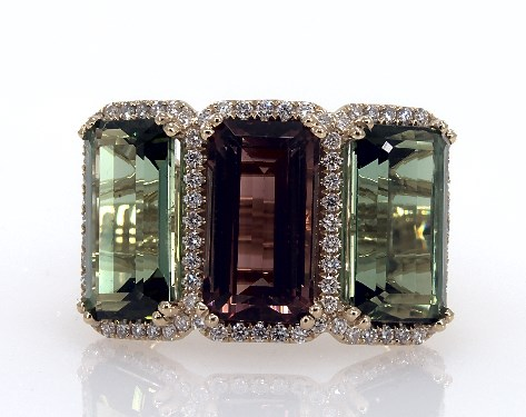 Image result for 18K YELLOW GOLD EMERALD SHAPED MULTI-COLORED TOURMALINE AND PAVE DIAMOND HALO THREE STONE RING SKU:80022Y