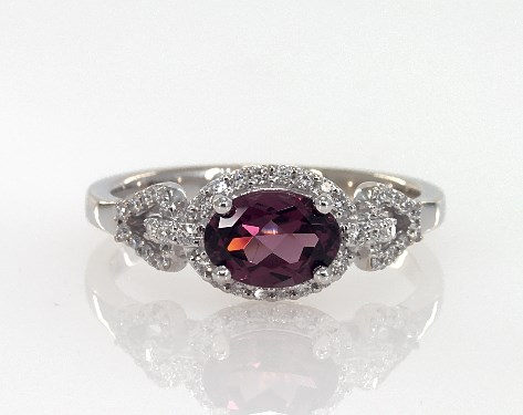 18K White Gold Oval Shaped Garnet and Pave Diamond Art Deco Inspired Ring