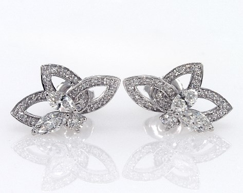 Earrings Diamond 14k White Gold Lotus Flower Item 61980