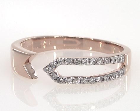 14K Rose Gold Open Arrow Design Diamond Ring