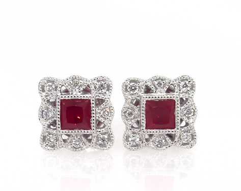 Earrings Gemstone 14k White Gold Princess Cut Ruby And Diamond Item 62091