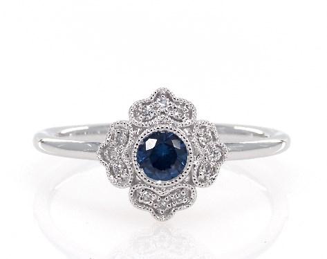 14K White Gold Petite Magnolia Sapphire and Diamond Ring