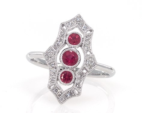 14K White Gold Bezel Set Ruby Trio and Diamond Ring