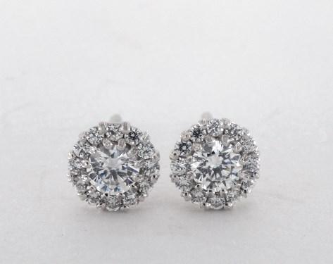14k White Gold Rosebud Pave Diamond Earrings