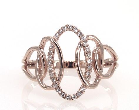 14K Rose Gold Interlocking Oval Diamond Ring