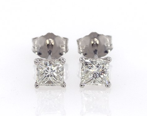 14k White Gold Princess Cut Diamond Earrings 80 Ctw