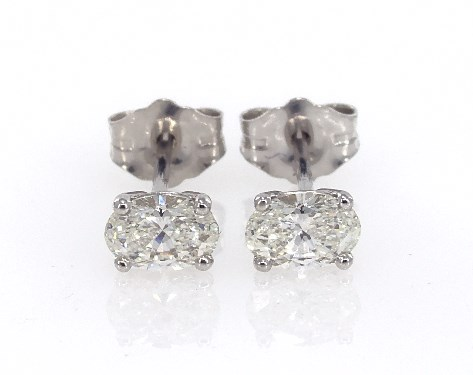 Fine Jewelry Preset Diamond Studs 14k White Gold Oval Shape Earrings 60 Ctw Item 62355