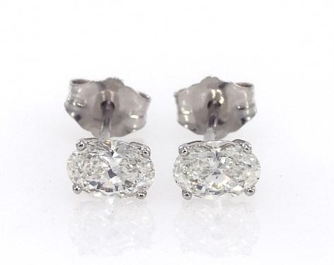 Fine Jewelry Preset Diamond Studs 14k White Gold Oval Shape Earrings 80 Ctw Item 62356