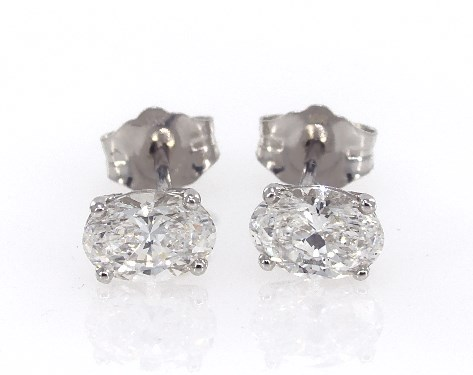 Fine Jewelry Preset Diamond Studs 14k White Gold Oval Shape Earrings 1 Ctw Item 62357