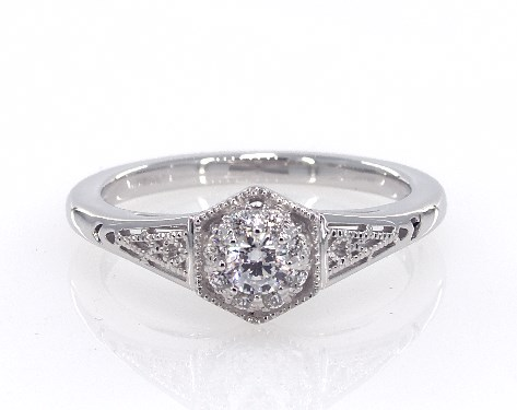 fine jewelry royal halo 14k white gold filigree arch engagement