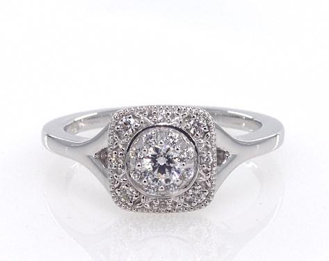 14K White Gold Cushion Halo Split Shank Engagement Ring
