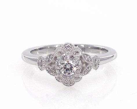 14K White Gold Sculpted Flower Engagement Ring