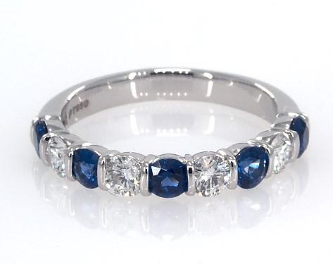 Platinum Sapphire and Diamond Anniversary Ring