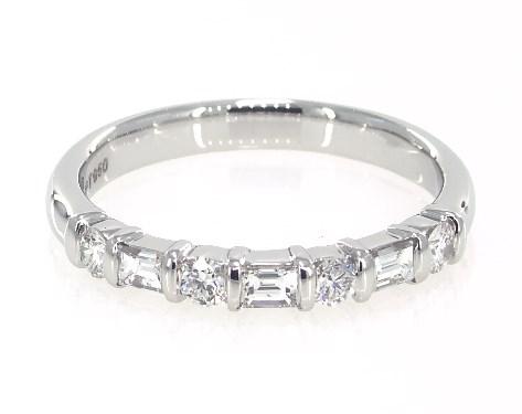 Platinum Alternating Round and Baguette Diamond Anniversary Ring