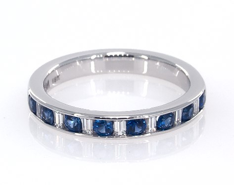 18K White Gold Sapphire and Baguette Diamond Anniversary Ring