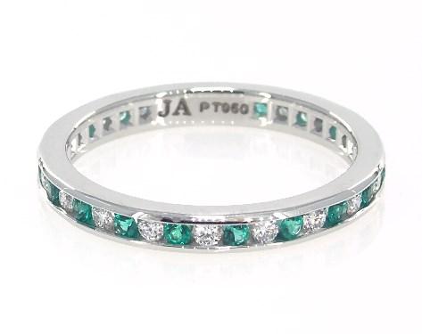Platinum Round Emerald and Diamond Eternity Ring