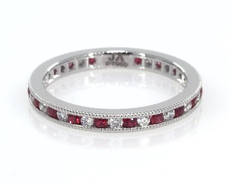 Platinum Round Ruby and Diamond Petite Eternity Ring