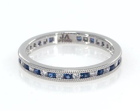 Platinum Round Sapphire and Diamond Petite Eternity Ring
