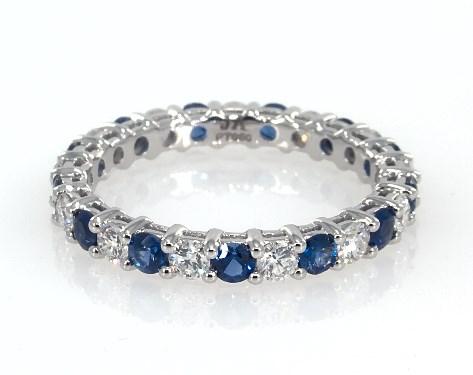 Platinum Blue Sapphire and Diamond Eternity Ring (0.75 CTW.)