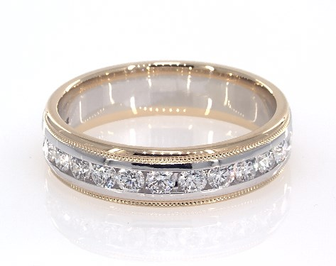 Mens Wedding Rings.18k White And Yellow Gold Men S Milgrain Diamond Ring