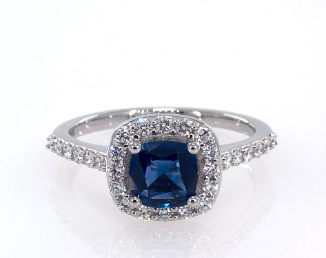 Platinum Cushion Shaped Sapphire and Diamond Pave Ring