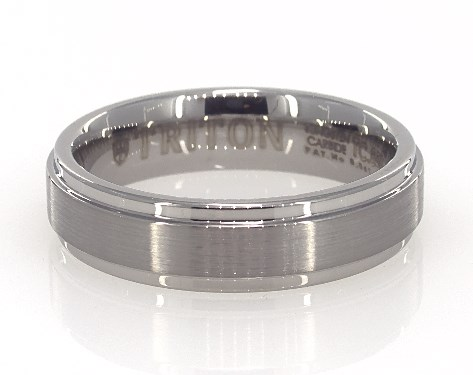 White Tungsten Carbide 6MM Bright Step Band by TRITON