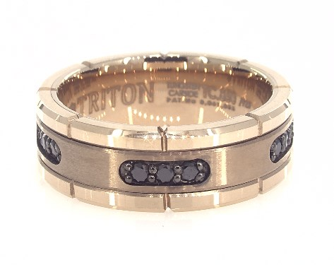 Rose Tungsten Carbide 8MM Black Diamond Band by TRITON