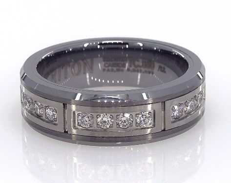 Wedding Rings Mens Diamond White Tungsten 7mm Band By Triton Item 62676
