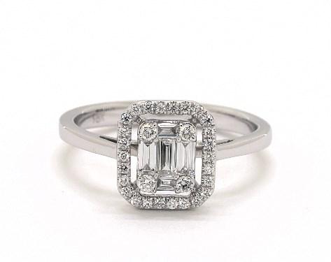18K White Gold Illusion Halo Ring