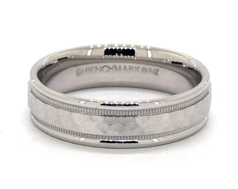 Wedding Rings Mens Carved 14k White Gold 6mm Comfort Fit Hammered Milgrain Band Item 63705