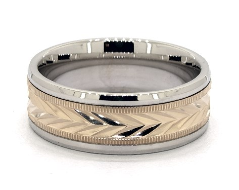 14K Two-Toned 8mm Comfort-Fit Wheat Pattern Band