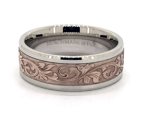 Wedding Rings Mens Carved Platinum And Rose Gold Vintage Script