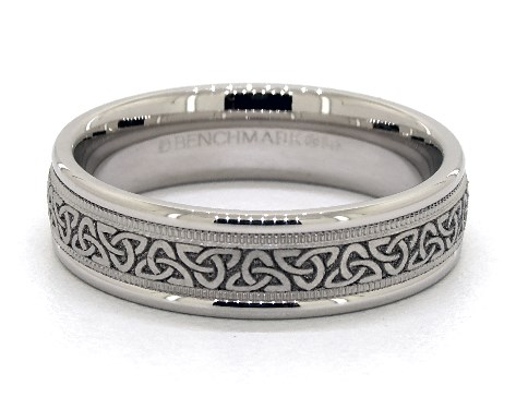 14K White Gold 6mm Comfort-Fit Love Knot Triangle Band