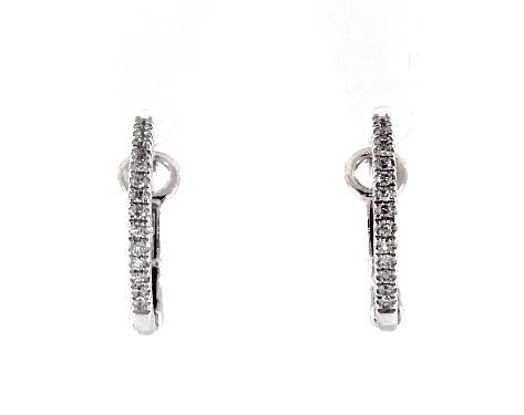 Earrings Diamond 14k White Gold Huggie Hoop Item 64104