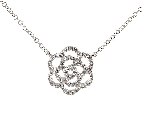 14K White Gold Flower Motif Diamond Necklace