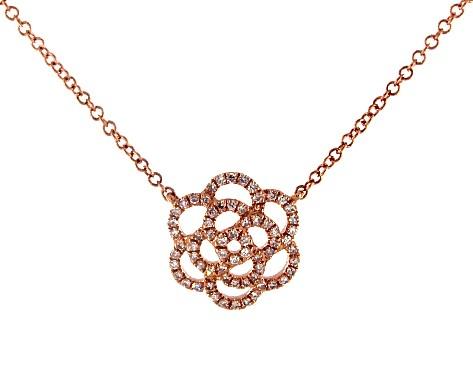 14K Rose Gold Flower Motif Diamond Necklace