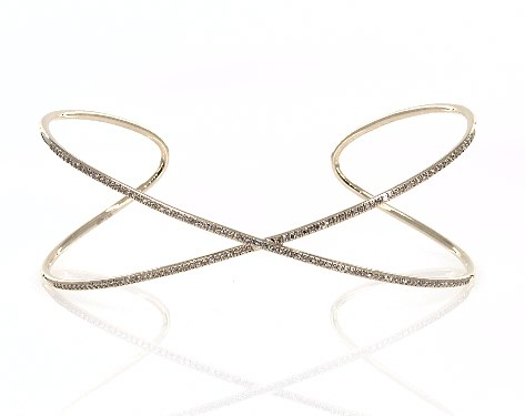 14K Yellow Gold Criss Cross Diamond Cuff Bracelet