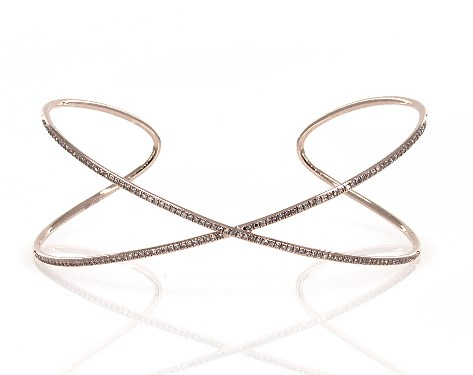 14K Rose Gold Criss Cross Diamond Cuff Bracelet