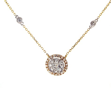 14K Yellow Gold Round Halo Cluster Necklace