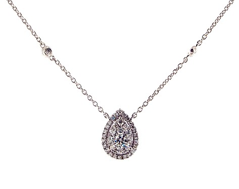 14K White Gold Pear Halo Cluster Necklace