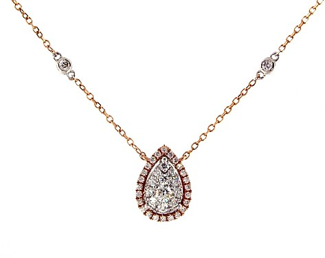 14K Rose Gold Pear Halo Composite Necklace