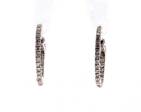 14K White Gold Inside Out Round Hoops, 1/2 Inch Diameter (0.25 ctw.)