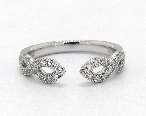 14K White Gold Open Infinity Diamond Ring