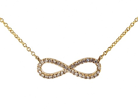 6a97708d48480 14K Yellow Gold Infinity Pave Necklace