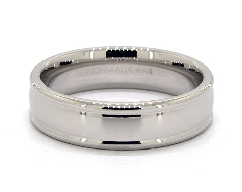 14K White Gold 6mm Grooved Edge Comfort Fit Wedding Band